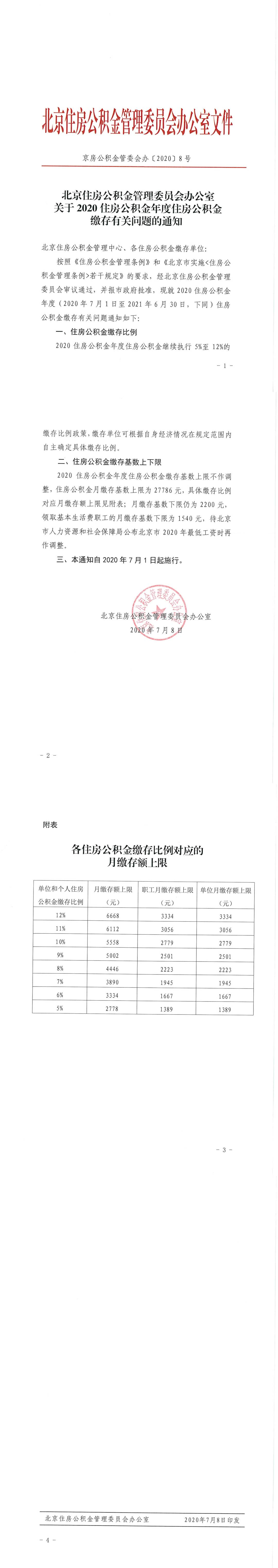 北京2020新万博app官网年度缴存基数上限公布